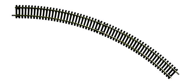 R609 Hornby track, Double Curvel 3rd radius, 505mm arc, 45 degrees. Size: OO -0