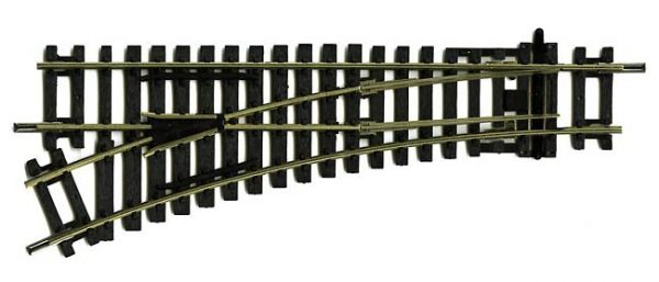 R8072 Hornby track, Left Hand standard Point. 168mm length, 438mm arc, 22.5 degrees. Size: OO -751