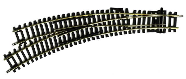 R8074 Hornby track, Left Hand Curved Point 2nd-3rd Radius. Each radius 438mm, arc 22.5 and 33.75 degrees. Size: OO -0