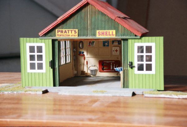 GARAGE, corrugated roof, sliding doors, interior detail, approx G scale-0