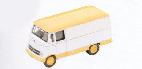 GM300 Mercedes L319 Van. White/Yellow roof. Diecast Vehicle, Ready Assembled & Painted Size: OO -0