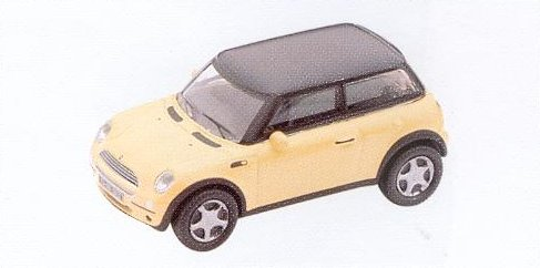 GM305 Mini Cooper car,(BMW) yellow/black roof. Diecast Vehicle, Ready Assembled & Painted Size: OO -0