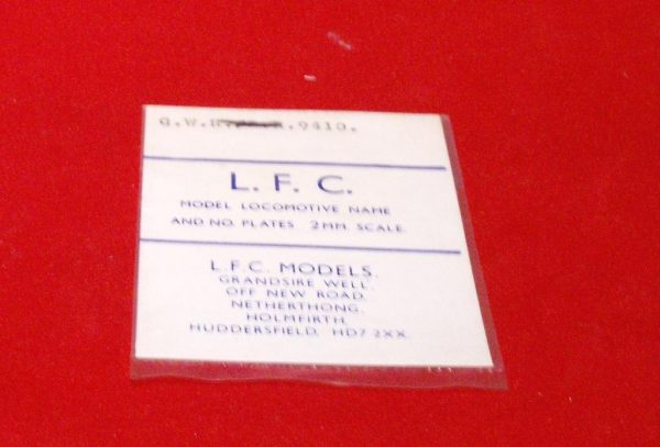 LFC9410 Loco Number. plate GWR no 9410.. LFC Loco Nameplate and/or Number Plate, use tinsnips & file to shape. N Gauge -0