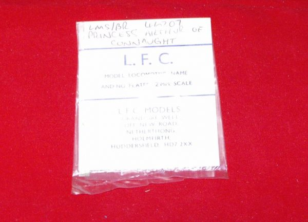 46207 'Princess Arthur of Connaught' LMS/BR 46207. LFC Loco Name / No Plate, use tin-snips & file to shape Size: N gauge-0