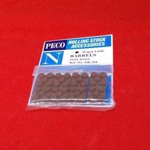 NR-204 Peco Wagon Load, Barrels - Dark Brown pkd 4's Size: N -0