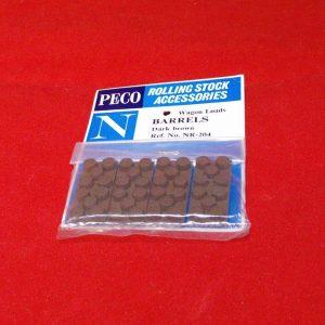 NR-204 Peco Wagon Load, Barrels - Dark Brown pkd 4's Size: N -0