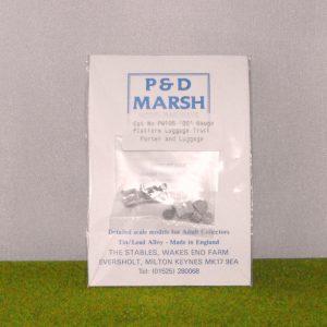 PW105 Luggage Truck & Luggage. P & D Marsh White Metal Kit, Kit Level 3. Size: OO -0
