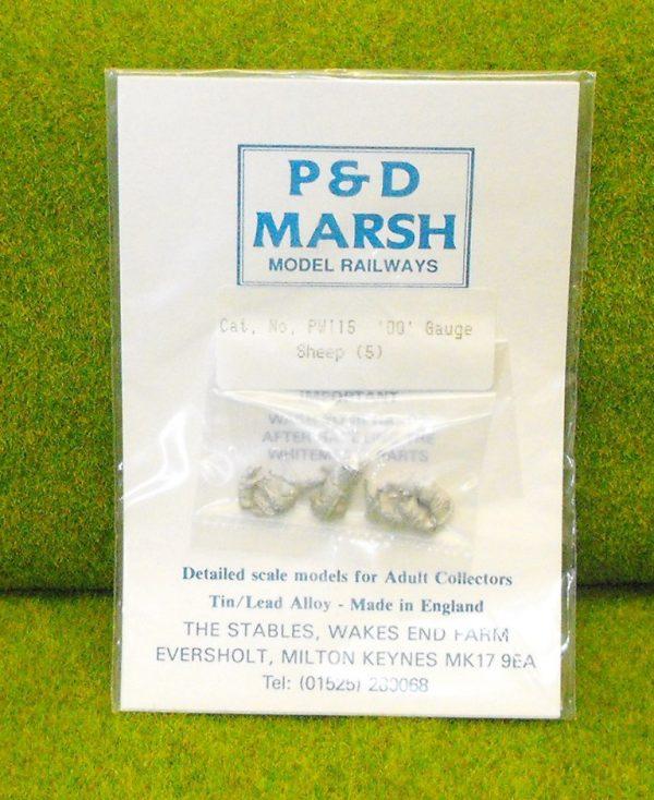 PW115 Sheep (5). P & D Marsh White Metal Kit, Kit level 1. Size: OO -0