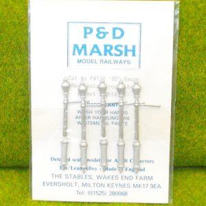 PW133 Residential Round Top Street Lights (5). P & D Marsh White Metal Kit, Kit level 1. Size: OO -0