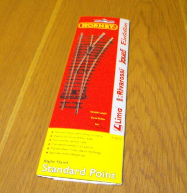 R8073 Hornby track, Right Hand standard Point. 168mm length arc 22.5 degrees. Size: OO -1457