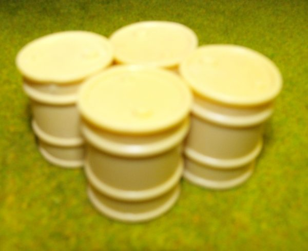 21-103 Shirecraft AC3 Oil Drums: Quantity 4 (unpainted). NB! The product picture shows this item painted and presented in a diorama.-0