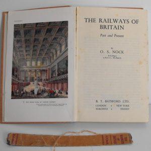 "1947 (BOOKS) The Railways of Britain 120pp interesting text written 1947 many bk/wh photos Hardback; O S Nock worn spine no jacket 8.5x5.5""-0"