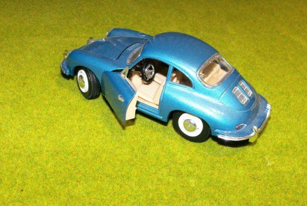 "SHSS7721 Die-cast Porsche 356B Coupe ""1961"" model, metallic blue Size: 1:24   This is a second-hand item.-0"