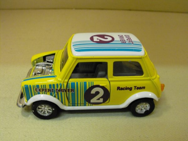 SS5703 Yellow Mini race stripes and decals, diecast Car, 1:24 scale. Opening doors, bonnet removed-0