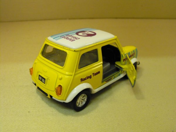 SS5703 Yellow Mini race stripes and decals, diecast Car, 1:24 scale. Opening doors, bonnet removed-804
