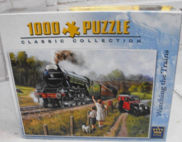 Code 5015 1000 piece Jigsaw Puzzle 'Watching the Trains', in original cellophane wrapped.-1216