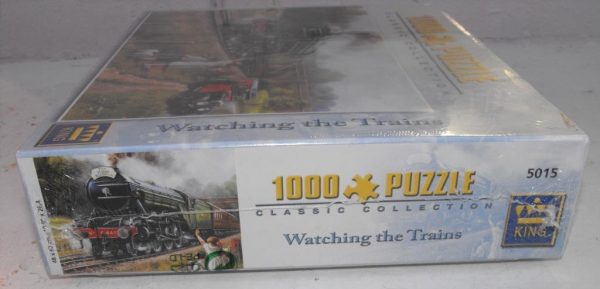 Code 5015 1000 piece Jigsaw Puzzle 'Watching the Trains', in original cellophane wrapped.-0