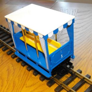 L93042 LGB 'Open air' Coach, 3-wheeler, blue livery, side-facing bench seats. Size: G gauge NEW Boxed-0